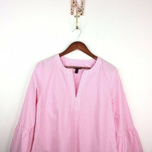 J. Crew Striped Bell Sleeve Popover Blouse Top